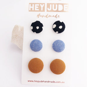 Stud Earring Multipack-3pack-Fabric Button-Black White Spots, Light Blue, Saffron Linen-Hey Jude Handmade