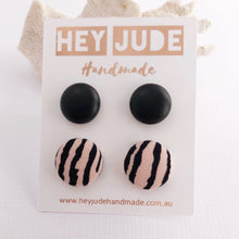 Load image into Gallery viewer, Fabric Stud Earring Multipack, 2pack, Black Leatherette + Pink Zebra Print- Hey Jude Handmade