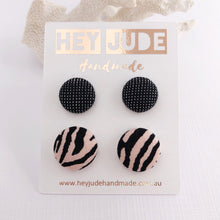 Load image into Gallery viewer, Fabric Stud Earrings, Multipack, 2 pack, Black Sparkle + Pink Zebra Prin- Hey Jude Handmade