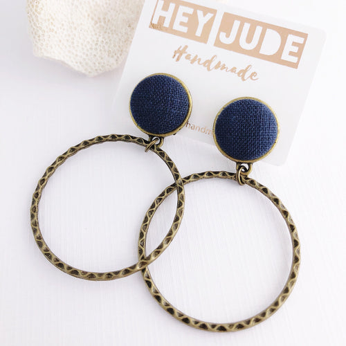 Hoop Earrings-Bronze Stud Dangles-Navy Linen Feature-Hey Jude Handmade