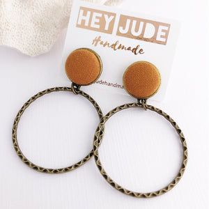 Hoop Earrings-Bronze-Stud Dangles-Saffron Linen-Fabric Feature-Hey Jude Handmade
