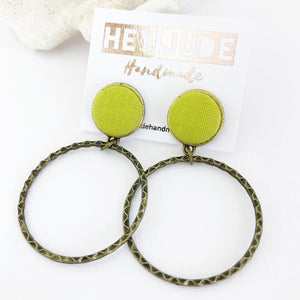 Bronze Hoop Earrings-Stud Dangles-Chartreuse Linen-Hey Jude Handmade