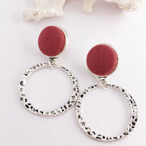 Hoop Earrings-Antique Silver Earrings-Raspberry Pink Linen-Stud Dangles-Hey Jude Handmade