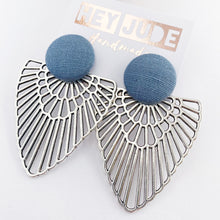 Load image into Gallery viewer, Large fabric Stud with Antique Silver Boho Fan-Statement Earrings-Duck Egg Blue Linen coloured-Hey Jude Handmade