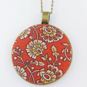 Large-Long Pendant Necklace-Antique Brass-Red Rust Filigree pattern fabric feature-Bronze Chain-Hey Jude Handmade