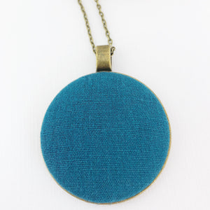 Large-Long Pendant Necklace-Antique Brass-Teal Linen fabric feature-Bronze Chain-Hey Jude Handmade