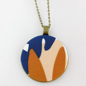 Long Large Pendant Necklace-Antique Brass with fabric feature- Saffron + Blue Abstract 1-Bronze Chain-Hey Jude Handmade