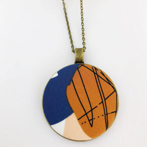 Large Long Pendant Necklace-Antique Brass-fabric feature-Saffron + Blue Abstract print 2-Bronze Chain-Hey Jude Handmade
