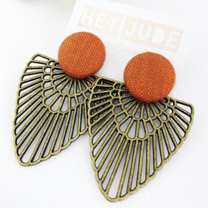 Large Stud-Bronze Boho Fans-Statement Earrings-with Rust linen-Hey Jude Handmade