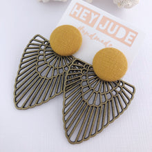 Load image into Gallery viewer, Large Stud Dangles-Bronze Boho Fan-Statement Earrings-Mustard Yellow Linen-Hey Jude Handmade