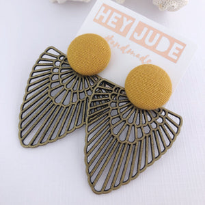 Large Stud Dangles-Bronze Boho Fan-Statement Earrings-Mustard Yellow Linen-Hey Jude Handmade