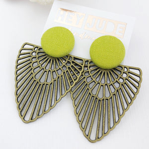 Large Stud-Chartreuse Linen colour-with Bronze Boho Fans-Statement Earrings-Hey Jude Handmade