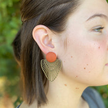Load image into Gallery viewer, Rust linen-Bronze Boho Fan Earrings-Statement Earrings on model-Hey Jude Handmade