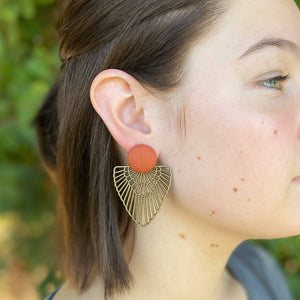 Rust linen-Bronze Boho Fan Earrings-Statement Earrings on model-Hey Jude Handmade