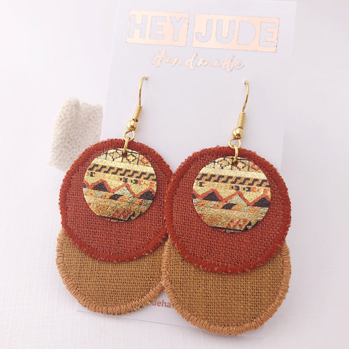 Linen Duo Dangle Earrings-Rust and Tikka coloured linen-Copper Gold embellishment-Gold Shepherd Hooks-Hey Jude Handmade
