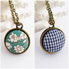 Load image into Gallery viewer, Mini Pendant Necklace-Bronze-Reversible-Subtle Green Vintage Floral + Navy Houndstooth-Hey Jude Handmade