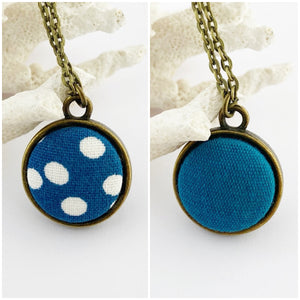 Mini Pendant Necklace-Bronze-Reversible-Teal Spot + Teal Linen-Hey Jude Handmade