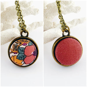 Mini Pendant Necklace-Bronze-Reversible-Orange Watermelon Floral + Raspberry Linen-Hey Jude Handmade