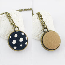 Load image into Gallery viewer, Mini Pendant Necklace-Bronze-Double Sided-Black, white spots and Sand linen reverse-Fabric Features-Hey Jude Handmade