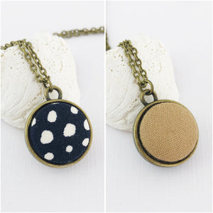 Mini Pendant Necklace-Bronze-Double Sided-Black, white spots and Sand linen reverse-Fabric Features-Hey Jude Handmade