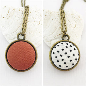 Mini Pendant Necklace-Bronze-Double Sided-Fabric Features-Cinnamon and White, Black Dots-Hey Jude Handmade