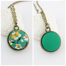 Load image into Gallery viewer, Mini Pendant Necklace-Bronze-Double Sided-Green Summer Floral and Green reverse-Fabric Features-Hey Jude Handmade