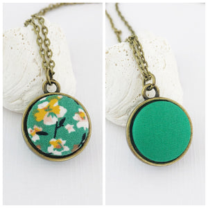 Mini Pendant Necklace-Bronze-Double Sided-Green Summer Floral and Green reverse-Fabric Features-Hey Jude Handmade