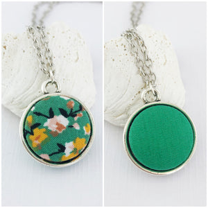 Mini Pendant Necklace-Antique Silver-Double Sided-Green Summer Floral and Green-Fabric Features-Silver Chain-Hey Jude Handmade
