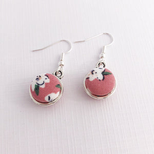 Front view Pink Floral, Two Sided Small Silver Drop Earrings