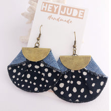 Load image into Gallery viewer, Statement Earrings-Pleated Denim Dangles- Fan shaped Black with white spot, light denim reverse
