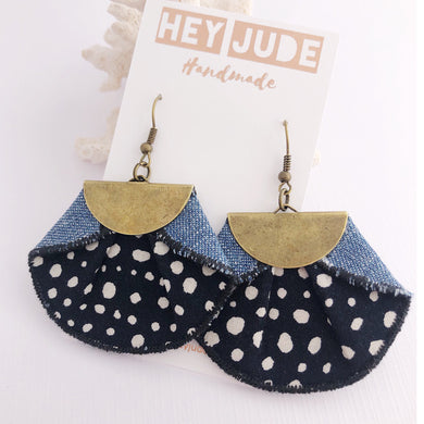 Statement Earrings-Pleated Denim Dangles- Fan shaped Black with white spot, light denim reverse
