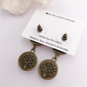 Reverse view-Small Bronze Double Drop Earrings-Tree of Life-Carving-Hidden Detail-Hey Jude Handmade