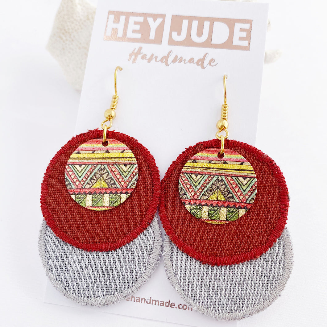 Rustic Linen Duo Dangle Earrings-two rounds of fabric-Burgundy Rust Linen + Grey Marle Linen-with rustic edge stitching-and painted copper round embellishment-gold shepherd hooks-Hey Jude Handmade