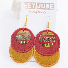 Load image into Gallery viewer, Rustic Linen Duo Dangle Earrings-two rounds of fabric-Raspberry Pink Linen + Tikka Linen-with rustic stitched edges-small round painted copper embellishment-with gold shepherd hook ear wires-Hey Jude Handmade