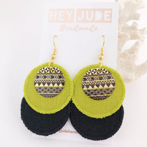 Rustic Linen Duo Dangles-Gold Shepherd Hooks-Chartreuse and Ash Black Linen-Gold and Black Embellishment-Hey Jude Handmade