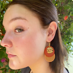 Rust and Tikka coloured linen-Dangle Earrings-on model-Hey Jude Handmade