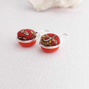 Silver Earrings-Side View-Small Double Sided-Dangles-Rust Orange and Bright Orange fabric-Hey Jude Handmade