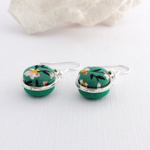 Side View-Small Silver Dangle Earrings-Double Sided-Fabric features-Green Summer Floral and Green-Hey Jude Handmade