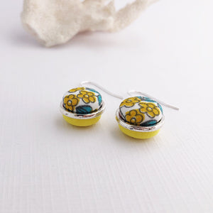 Side View-Small Dangle-Silver Earrings-Double Sided-Fabric features-Yellow floral and bright yellow-Hey Jude Handmade