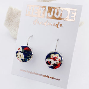Small Silver Drop Earrings-Bezel Setting with fabric button feature-Navy Floral-Hey Jude Handmade