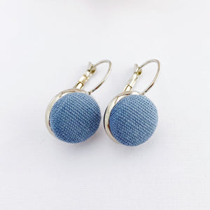 Small Silver Drop Earrings-Bezel Setting-Duck Egg Blue Linen fabric covered button feature-Hey Jude Handmade
