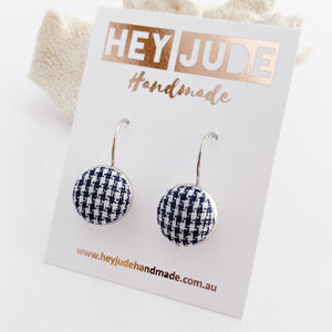 Silver Bezel Drop Small Earrings-Navy Houndstooth fabric button feature-Hey Jude Handmade
