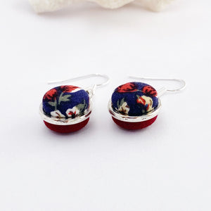 Small Antique Silver Double Sided Earrings-Side View-fabric button features-Navy Floral + Maroon-Hey Jude Handmade