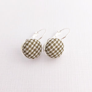 Silver Earrings small bezel drop earrings with Sage Houndstooth fabric