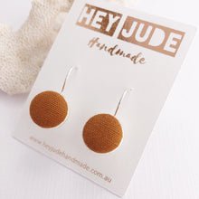 Load image into Gallery viewer, Silver Earrings-Bezel Drops-Fabric Feature-Saffron Linen-Hey Jude Handmade