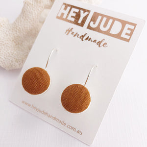 Silver Earrings-Bezel Drops-Fabric Feature-Saffron Linen-Hey Jude Handmade