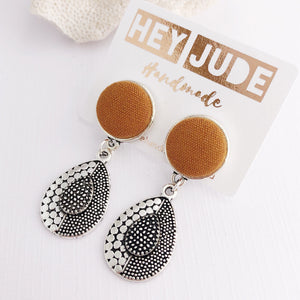 Silver Earrings-Vintage Style-Antique Silver Drop Earrings-with Saffron Linen-Hey Jude Handmade