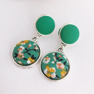 Silver Statement Earrings-Antique Silver-Double Drops-Green and Green summer Floral-Fabric Features-Hey Jude Handmade