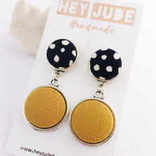 Load image into Gallery viewer, Antique Silver-Double Drop Earrings-Black, white spots and Mustard Yellow Linen-Fabric button features-Hey Jude Handmade