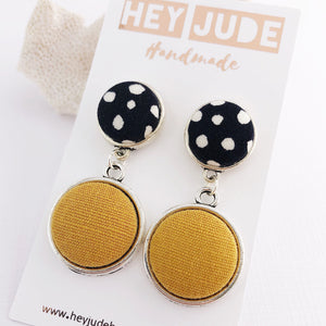 Antique Silver-Double Drop Earrings-Black, white spots and Mustard Yellow Linen-Fabric button features-Hey Jude Handmade